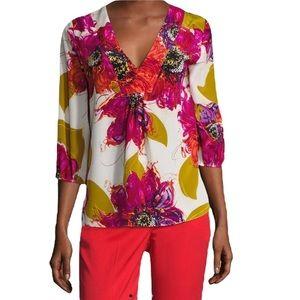 Trina Turk Silk Nanette Floral Tunic Top - Large